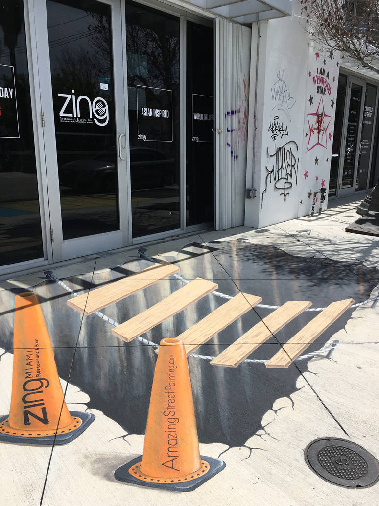 3D street painting for Zing Miami by AmazingStreetPaint