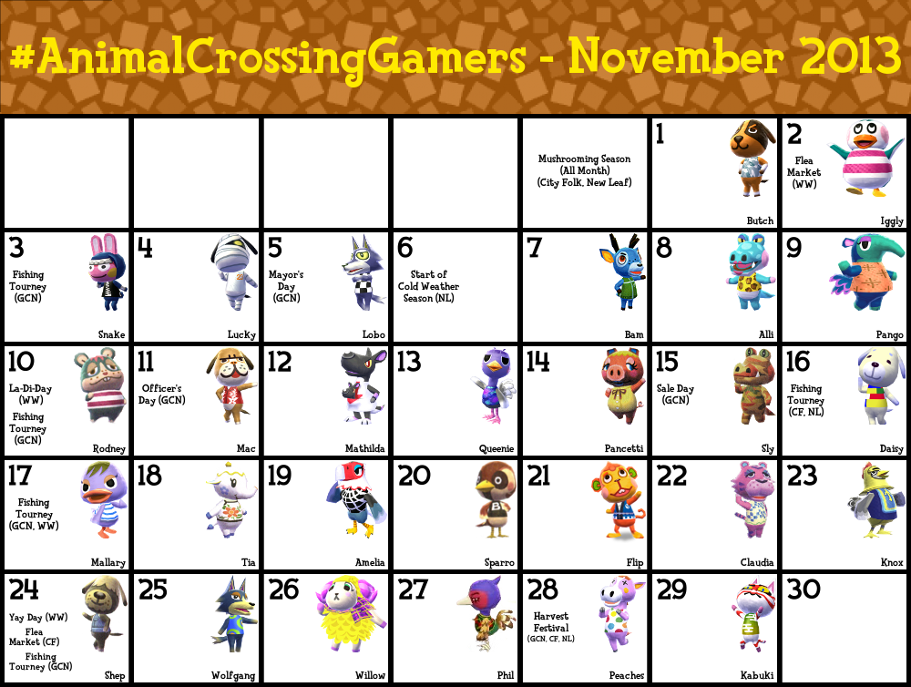 Anime Characters July Birthdays : Animalcrossinggamers calendar for november by