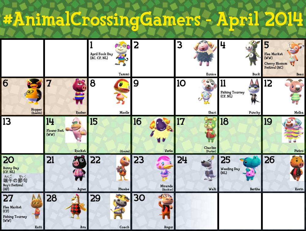 ACG Calendar for April 2014 by TheStaticStalker on DeviantArt