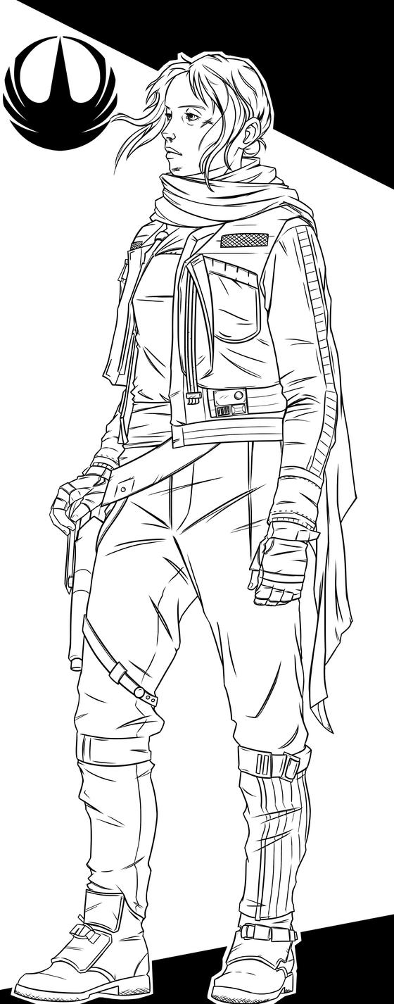 Rogue One | Jyn Erso Lineart by DerP3ter