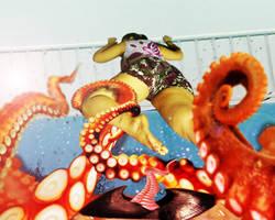 Nicole vs Giant Octopus by MightyMorphian