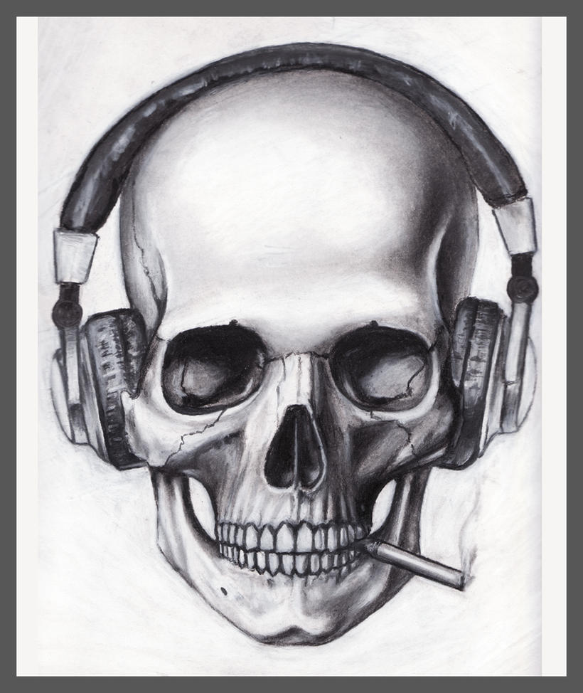 Skull Headphones Cigarette by pleasenojunkthanks by pleasenojunkthanks