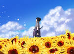 Sasuke in a Field of Sunflowers