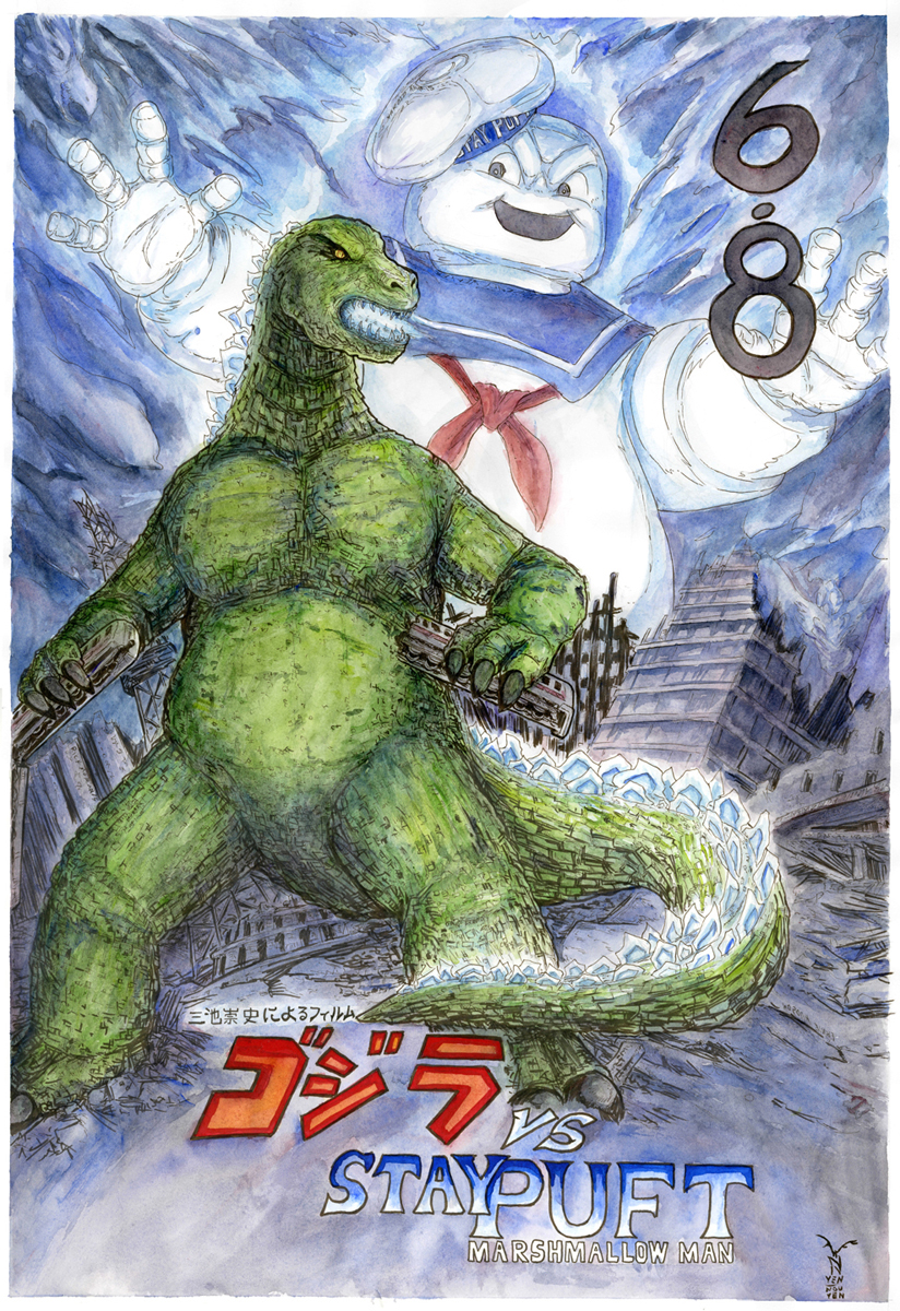 Godzilla Vs Stay Puft Marshmallow Man Color By