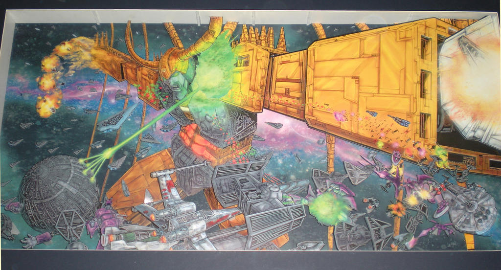 Unicron vs Star Wars 3D Shadow Box by artrobot9000