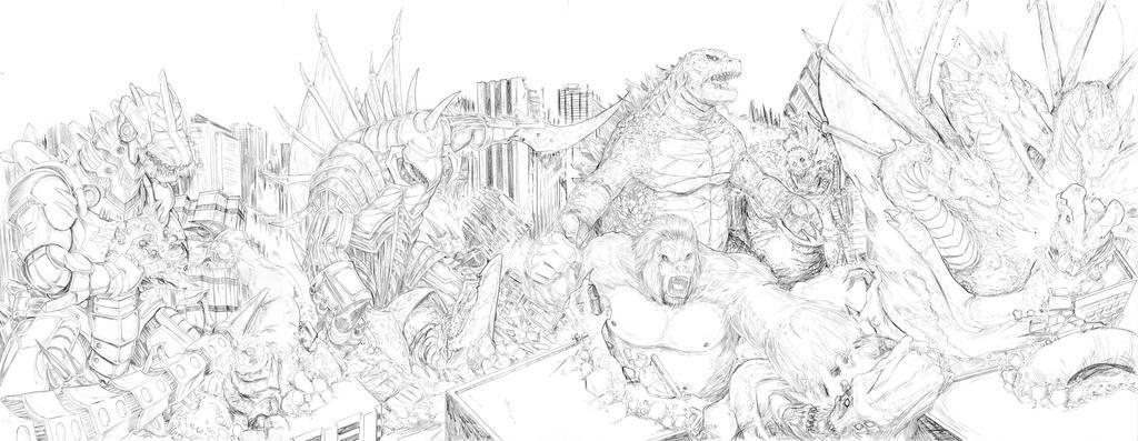 Godzilla Mash vs Pacific Rim Sketch by artrobot9000
