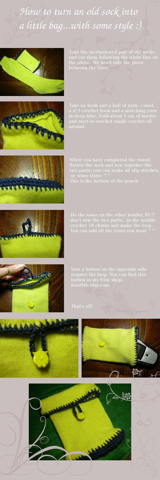 Tutorial sock to bag by knotsme