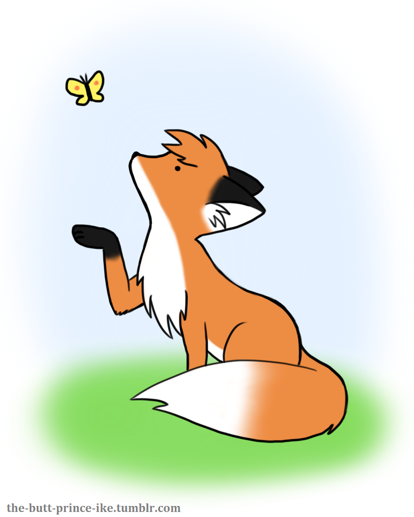 Fox found a butterfly friend by butt-prince-ike