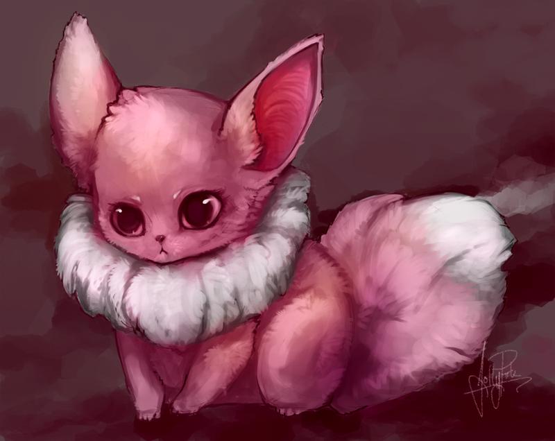 Pink Fluffy Eevee by JollyPiik