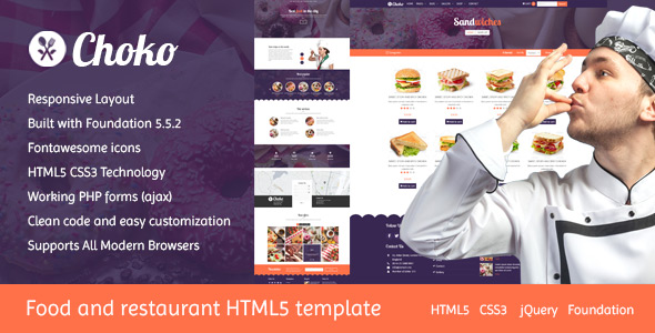 Choko Chef and Food HTML5 Template by Pistaciatheme