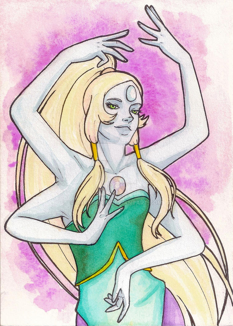Another oldish painting, this time of Opal. She's one of my favorite fusions in Steven Universe. I do plan on making more fan art of other gems, so stay tuned!