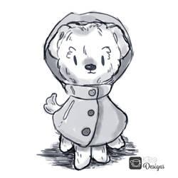 Pupper in a Raincoat Sketch