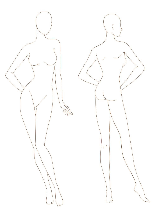 graphic regarding Printable Fashion Croquis named Woman Model Croquis - iwate-kokyo