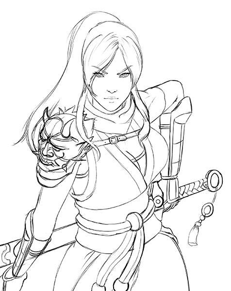 sketch waist Elizabeth by ExaelART