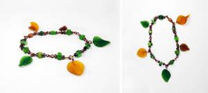 Green and brown leaf bracelet