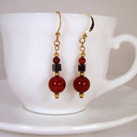 Red and gold earrings 1 by Koreena