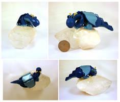 Blue dragon on crystal by Koreena