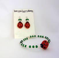 Ladybug set, green and silver by Koreena