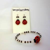 Ladybug set, brown and silver by Koreena