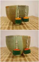 Gunkan maki earrings by Koreena