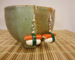 Crab stick sushi earrings by Koreena
