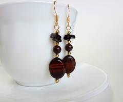 Red tigerseye earrings by Koreena