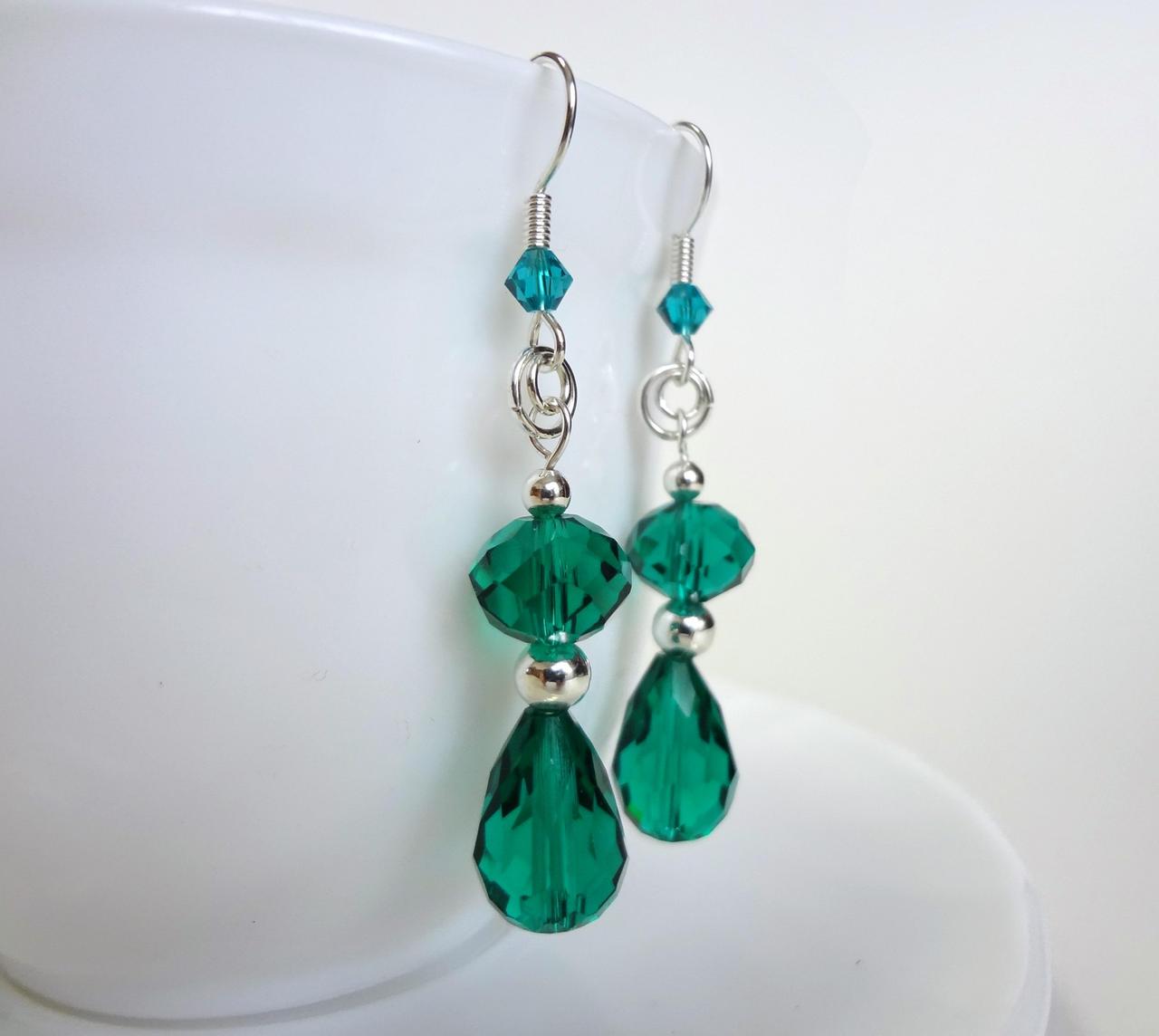 Faceted aqua drop earrings
