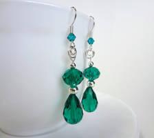 Faceted aqua drop earrings by Koreena