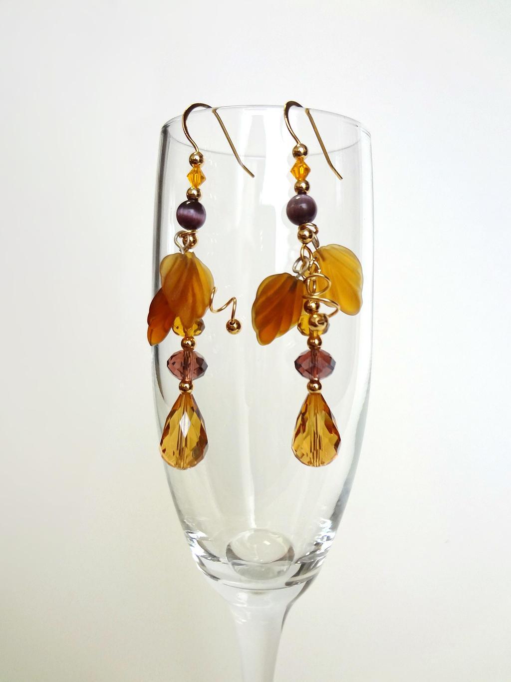 Golden fall earrings