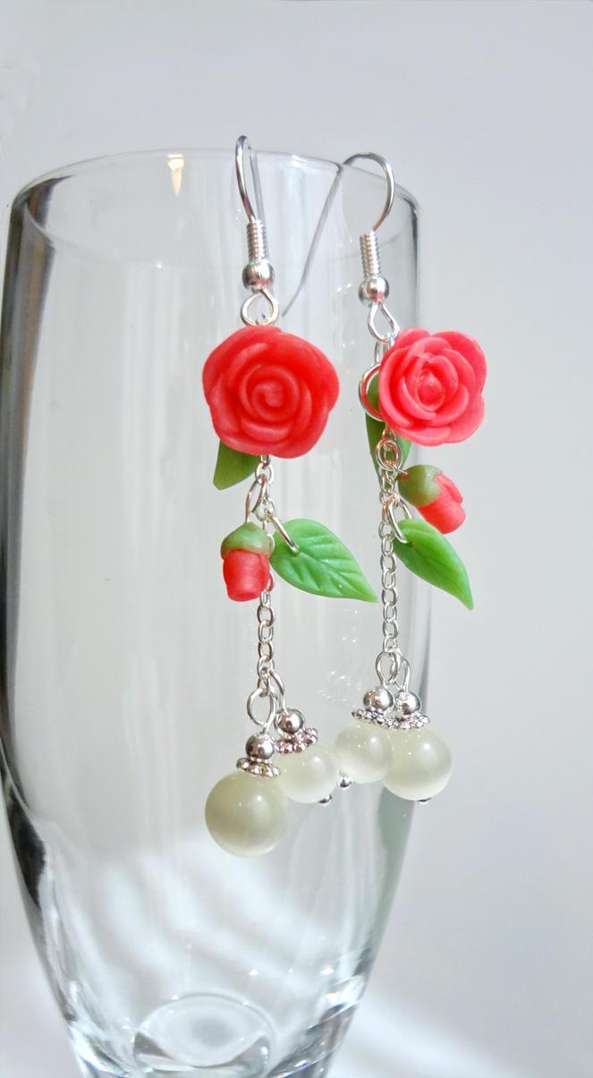 Spring - Pink Roses - earrings by Koreena