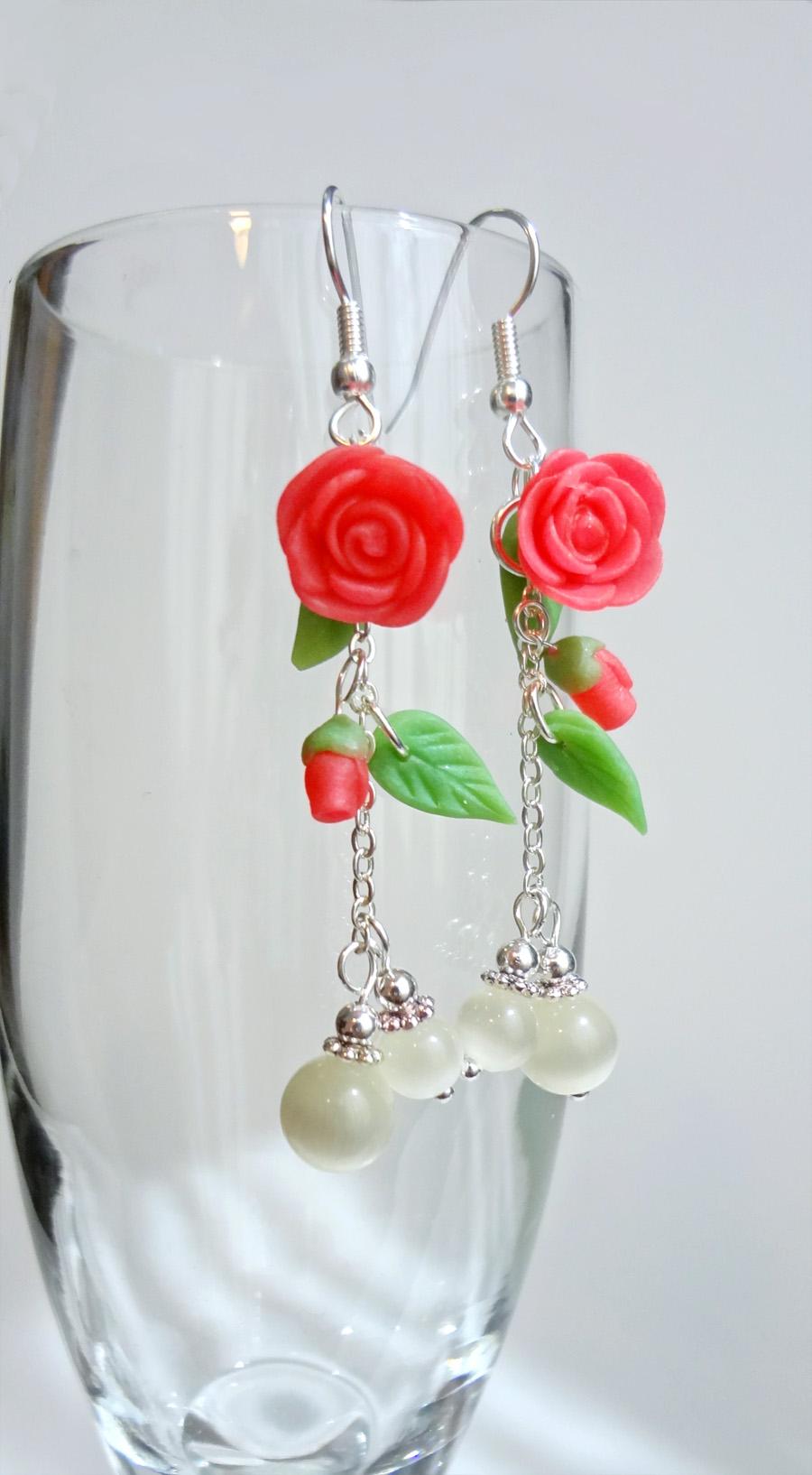 Spring - Pink Roses - earrings