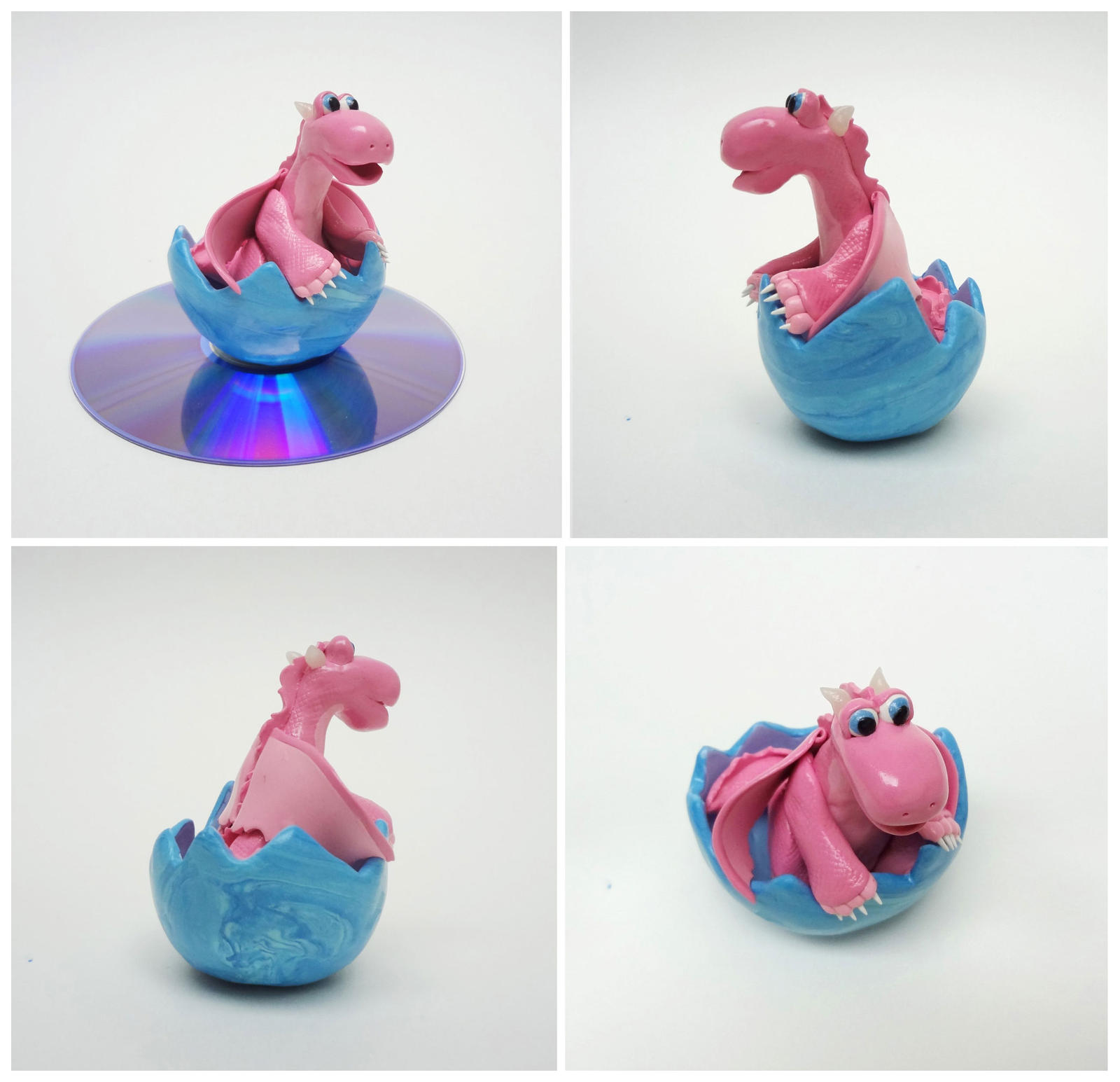 Pink dragon in blue egg
