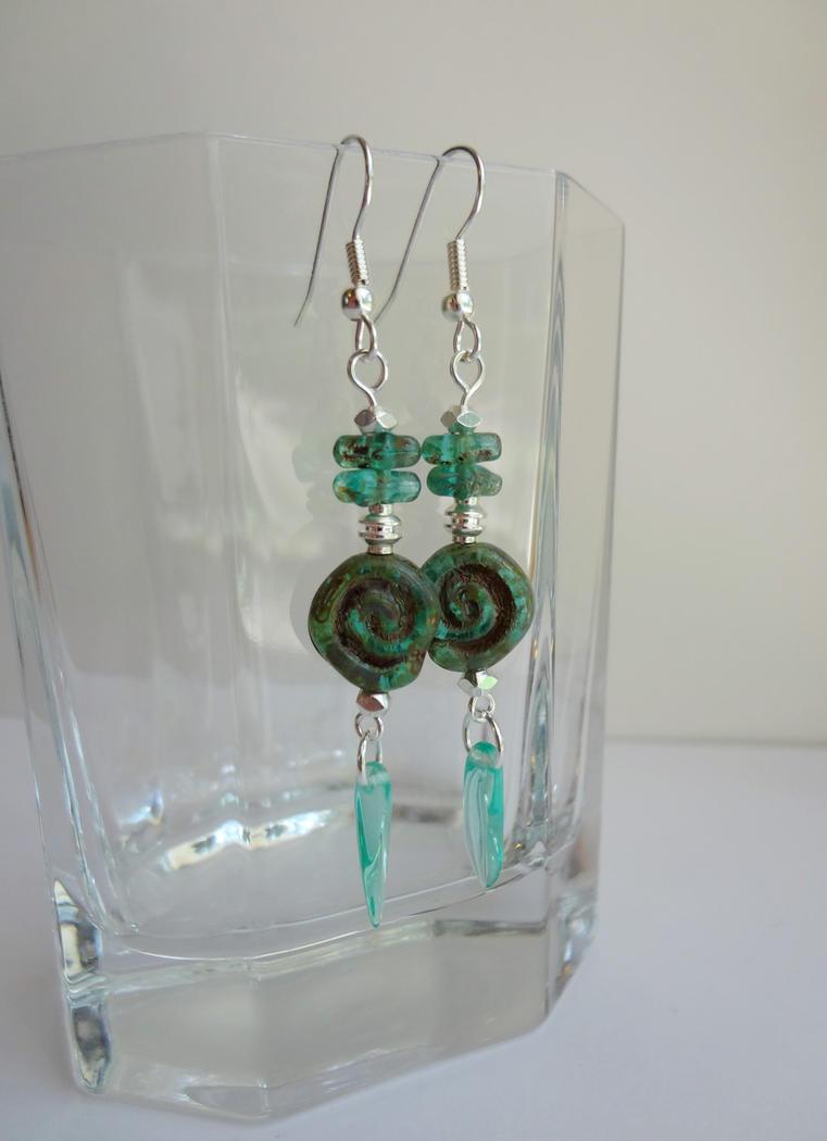 Turquoise spiral earrings by Koreena