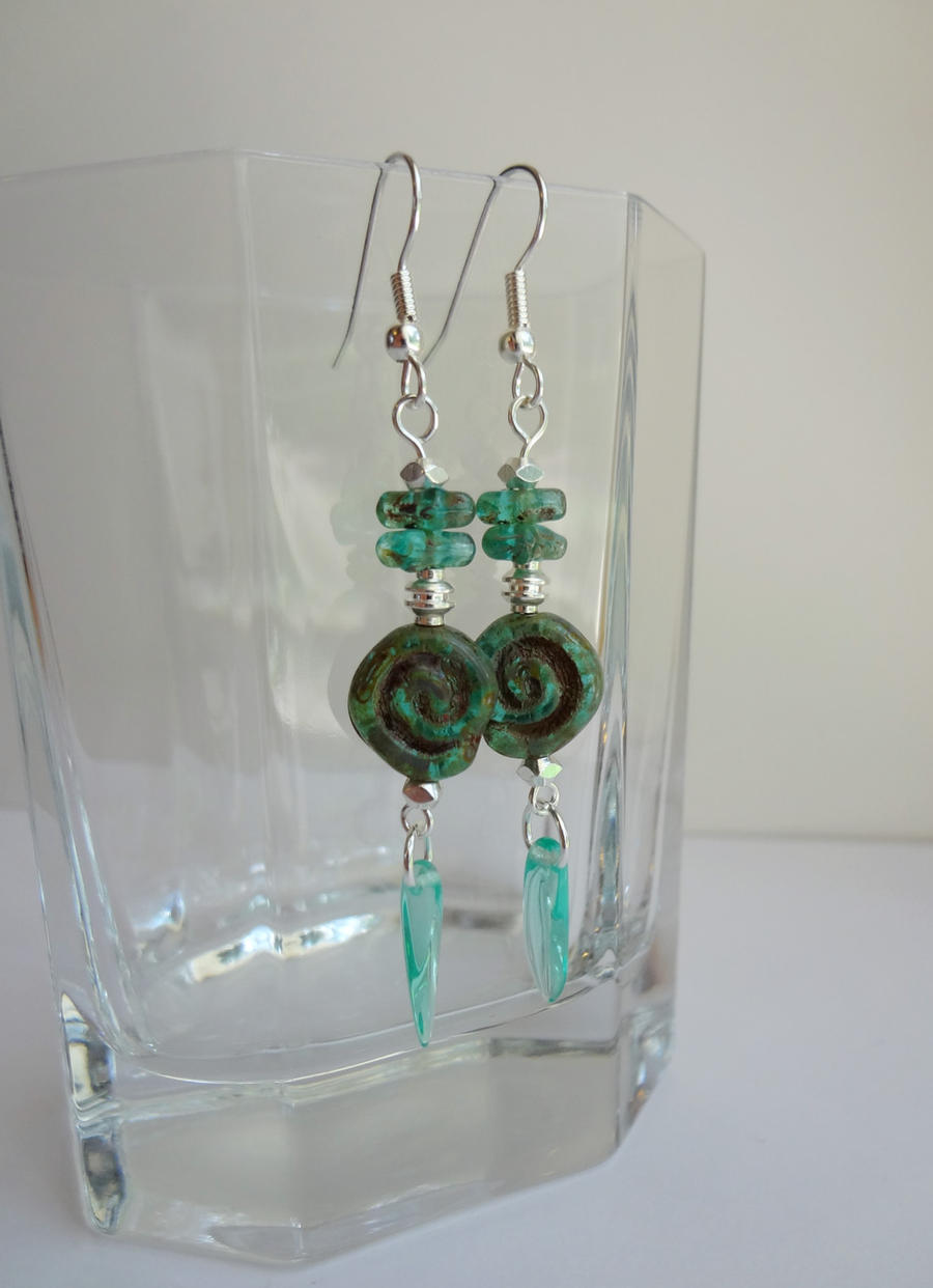 Turquoise spiral earrings