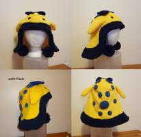 Fuzzy quaggan hat - yellow and blues by Koreena