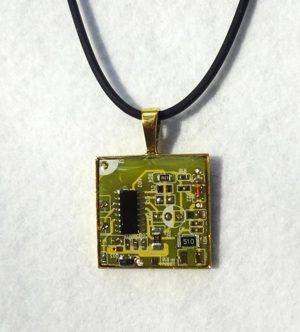Yellow circuit board pendant