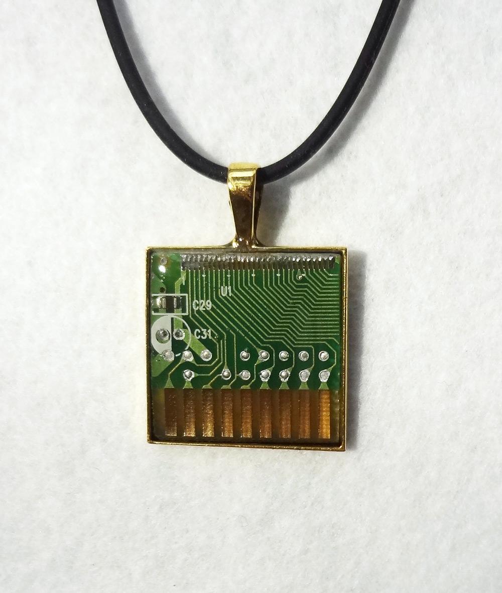 Green circuit board pendant 3