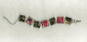 Dark Brown and red circuit board bracelet