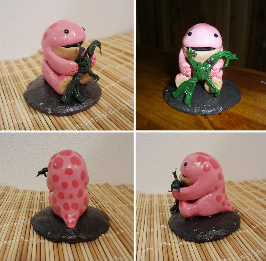 Pink quaggan with seaweed doll figurine by Koreena
