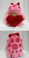 Pink quaggan plush with heart