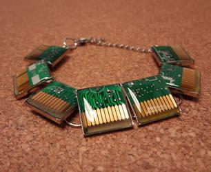 Green circuit board bracelet by Koreena