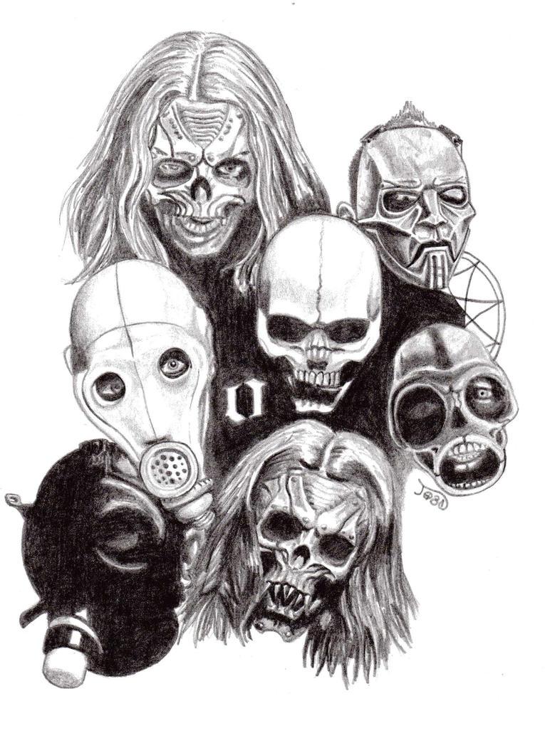 how to draw slipknot masks