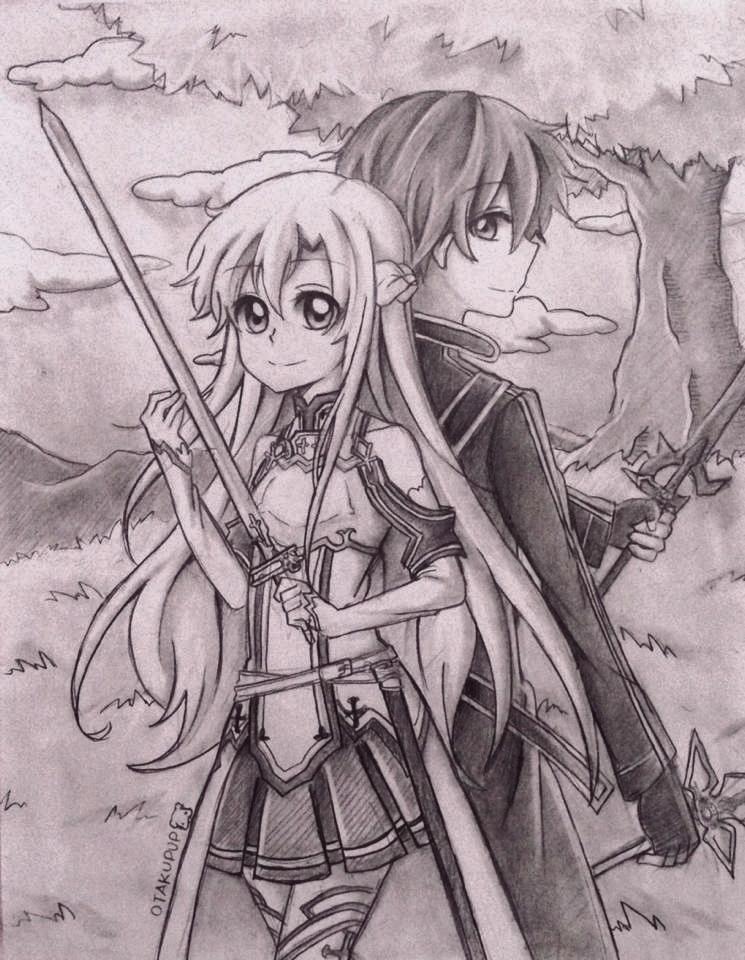 Commission:: Asuna x Kirito by OtakuPup