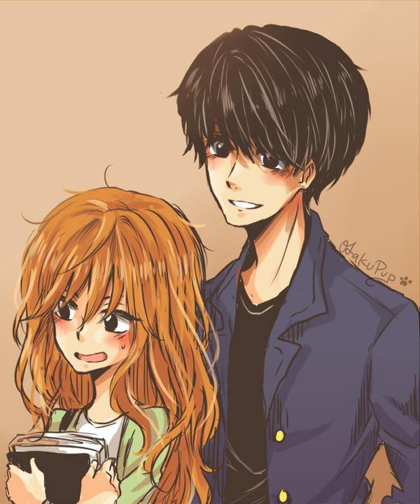 Anime kiss in love