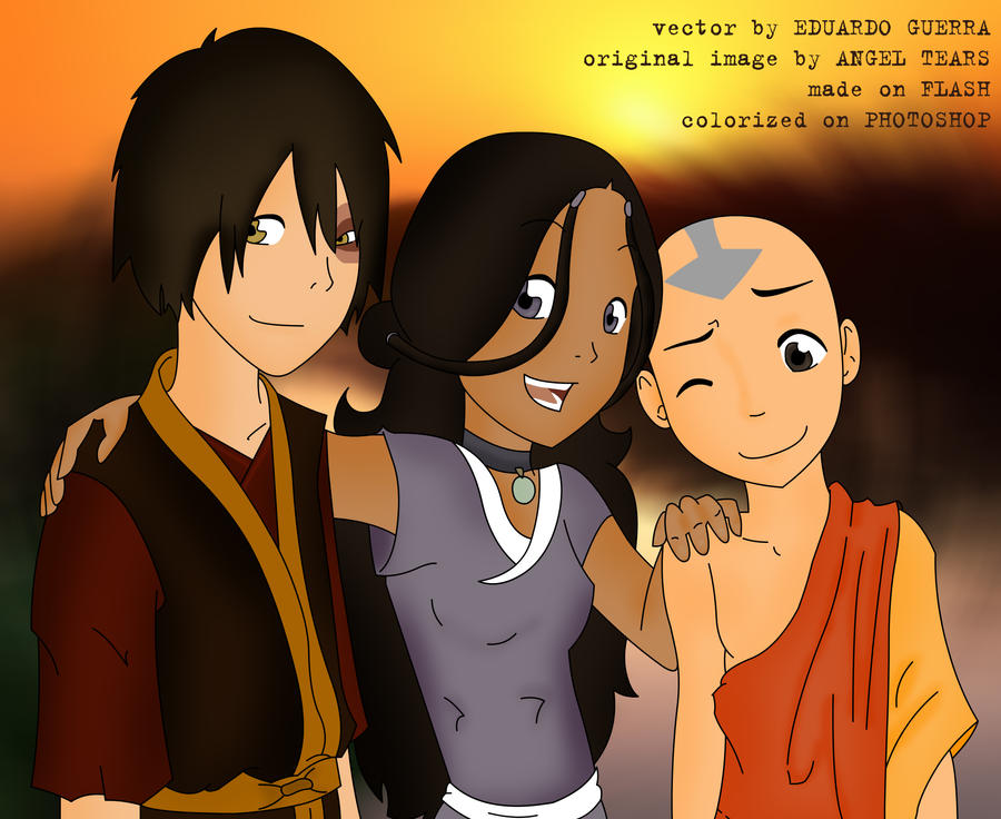 Aang and zuko friends katara aang and zuko by egba94