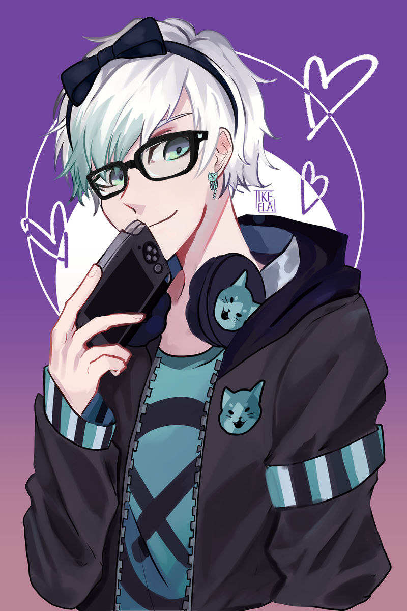 C a very cute gamer boy obsessed with cats by ikeela on - Anime gamer boy ...