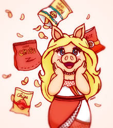 Miss Piggy goes #sendmelifetimesupplyofchunkychips