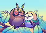 Pokemon - Hoothoot and Rowlet chilling