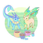 Friends! Vaporeon and Leafeon by weilis