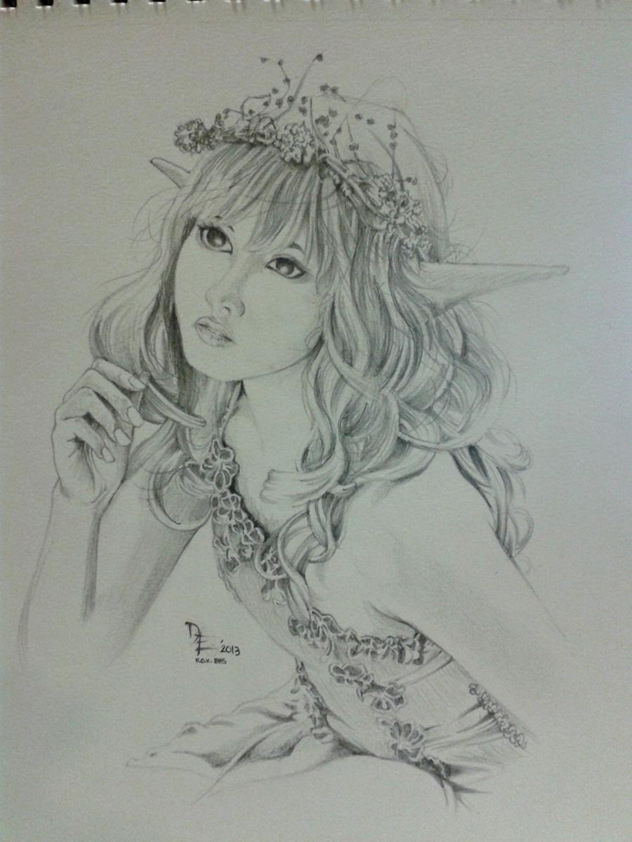 Pencil sketches of fairies fairy sketch by artistiko07